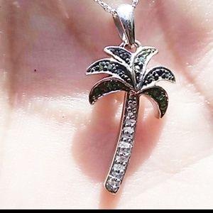 Jewelry - NWT diamond sterling silver palm tree pendant